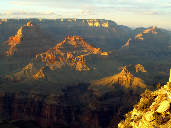 View of shiny mountains in Grand Canyon before sunset